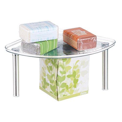 mDesign Free Standing Corner Storage Shelf for Bathroom Vanity Counter Top, Cabinet - Brushed/Clear