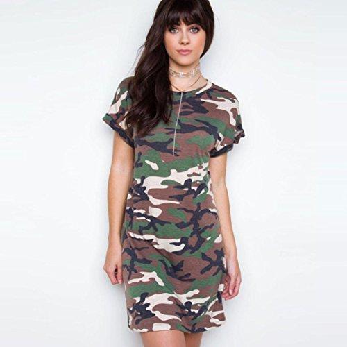 Yogogo Art und Weise dünne Tarnung Kurzarm Kurzes Kleid für Frauen ...