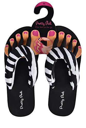Pretty Pedi Super Lightweight Brand Pedicure Sandals With Toe Separator Feature (Medium, Zebra) (Bag Sandal)