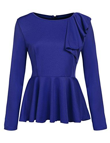 スクラップダウンタウン批判的にBeyove ブラウス 女性用 正装 トップス フリル ペプラム 長袖 US サイズ: Medium カラー: ブルー