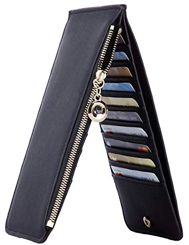 Toughergun Womens RFID Blocking Genuine Leather Multi Card Organizer Wallet with Zipper Pocket(Chic Black)
