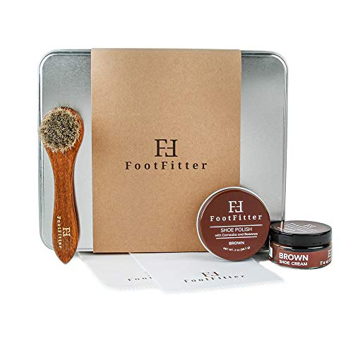 FootFitter Basic Shoe Care Set- Brown- Shoe Polish, Cream, Dauber Brush, Polishing Cloths from FootFitter