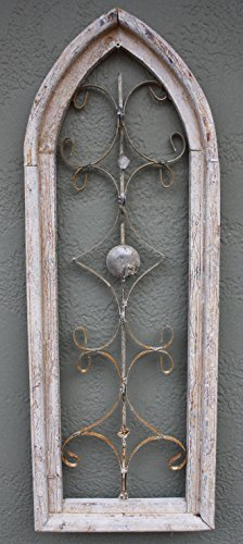 New Wooden Antique Style Church WINDOW Wrought Iron Primitive Wood Gothic 32 INCH by New