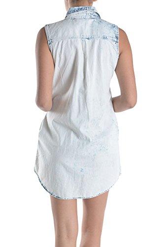 Style American Bazi Sleeveless Shirtdress Summer Ice Dress G USA Blue Women's Denim Spring 44gEx