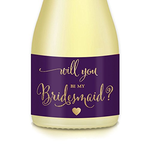 Will You Be My Bridesmaid? MINI CHAMPAGNE BOTTLE LABELS Bridal Party Proposal Mini Champagne or Wine Bottle Stickers, Wedding Attendants Gift Box, Favors, Ask Maid Matron of Honor 3.5