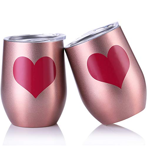 Skylety 12 oz Double-Insulated Stemless Glass, Stainless Steel Tumbler Cup with Lids for Wine, Coffee, Drinks, Champagne, Cocktails, 2 Pieces (Red Heart-Rose Gold)