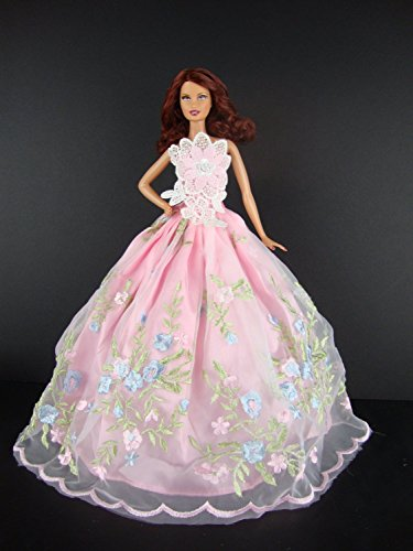 Pink Wedding Dress with Floral Theme Lace Complete with Pink Veil and Gloves Made to Fit Barbie Doll - Barbie Gloves