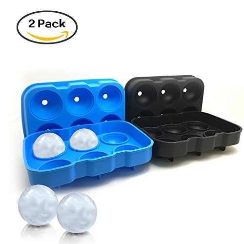 2 Packs of 6-Cavity Ice Ball Mold, SourceTon Black and Blue Flexible Silicone Ice Sphere Tray, Reusable Ice Ball Maker for Whisky, Bourbon, - Black Whisky Blue &