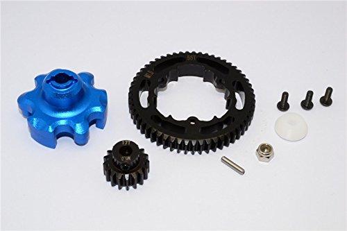 Traxxas X-Maxx 4X4 Tuning Teile Aluminium Gear Adapter + Steel Spur Gear 55T + Motor Gear 17T (For X-Maxx 6S Only) - 1 Set Blau