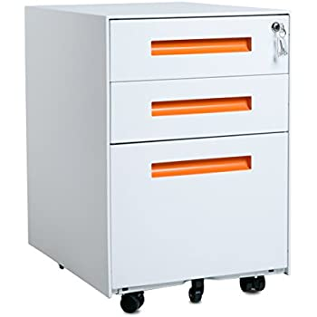 Amazon Com Merax 3 Drawer Mobile File Cabinet With Keys