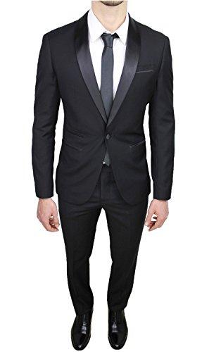 Vestito Nero Uomo Slim Fit Smoking Aderente Lucido Completo Sartoriale Raso Abito YfqIC