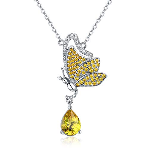 (25 Sterling Silver Butterfly Dream Ladies Necklace, Hand-Set Inlaid Rose Gold Zircon, Electroplating Process)