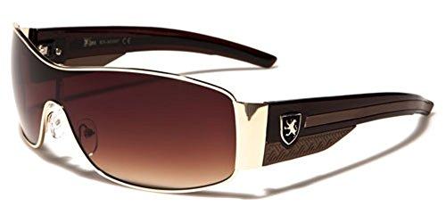 Khan Metal Wire Rim Frame Men's Sport Shield Sunglasses - Gold & - Sunglasses Gold Designer