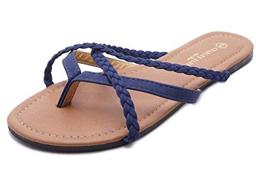 Charles Albert Women's Selene Multi Strap Criss Cross Flip Flop Sandal (7 B(M) US, Navy Braid) ()