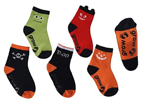 Glow In The Dark Kids Socks 5 Pair & Pumpkin Trick or Treat bag set(3-5years)]()