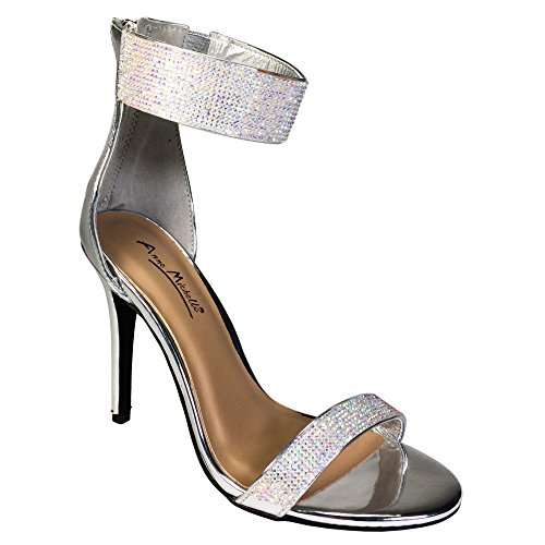Anne Michelle Women's One Band Embellished Dress Heel Sandal With Ankle Strap, Silver Patent PU, 8.0 B (M) US (Silver Rhinestone Heels)