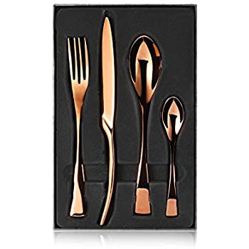Fork Knife Spoon SetTtoyouU 4pcs Stainless Steel Bronze-colored Flatware Dinnerware Set in A Fine Gift Box  sc 1 st  Amazon.com & Amazon.com | Vintage Bronze Flatware By James - Made in Bangkok ...