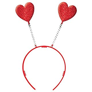 "Amscan Happy Glitter Hearts Bopper Valentine's Day Costume Party Head Wear Accessory (1 Piece), Red, 10 1/4"" x 4 1/2"""