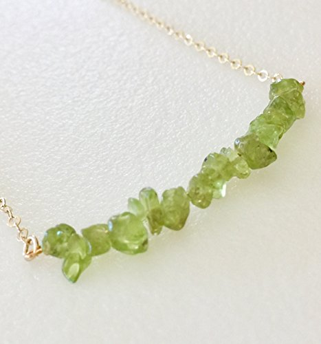 Peridot Bar Necklace, August Birthstone, Apple Green Peridot, Delicate Bar Necklace, Minimalist Bar, 14 K Gold Fill, Sterling Silver.