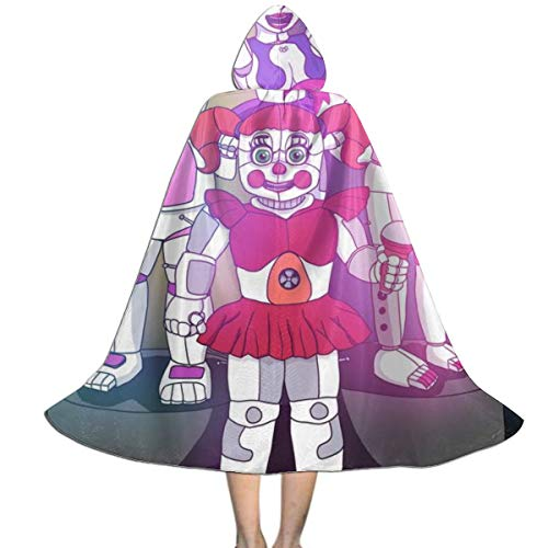 RGHDFFD72JFD9 Five Nights Sister Freddy Unisex Child 3D Printed Vampire Dracula Cloak Cape Halloween Party Cosplay Fancy Dress Costume with Wizard Witch Hat ()