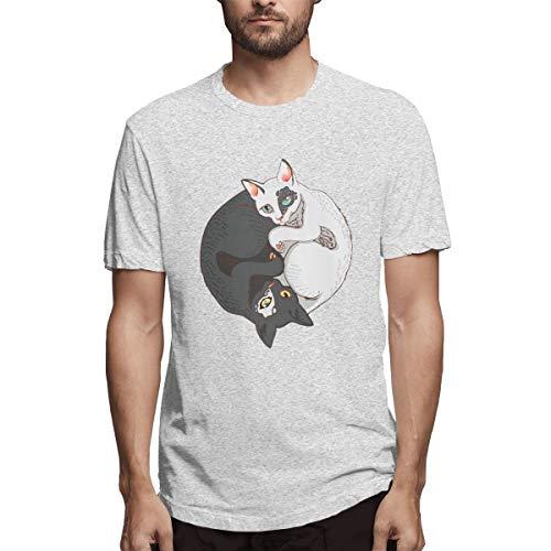 MiiyarHome Men's Short Sleeve T-Shirt Yin Yang Tattoo Designs, Men Short Sleeves Jersey Causal Tee Gray M ()