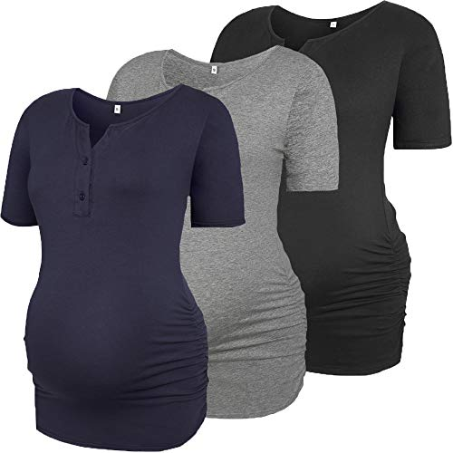 Derssity Womens Maternity Shirts Tops Button Up Blouse Short Sleeve Classic Side Ruched Pregnancy T-Shirt((Black+Grey+Navy)/Button Style,M)