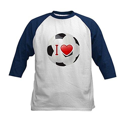Royal Lion Kids Baseball Jersey I Love Soccer Football Futbol - Navy/White, Large (14-16)