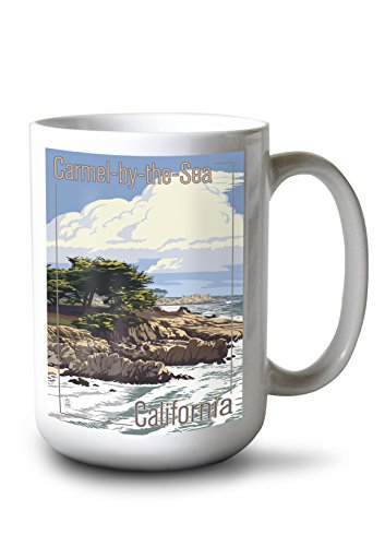 Lantern Press Carmel-by-The-Sea, California - View of Cypress Trees (15oz White Ceramic Mug)