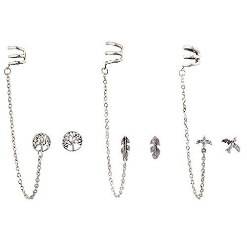 Lux Accessories Burnish Silver Boho Ear Cuff Multi Earring Set (Chain Cuff Earrings)