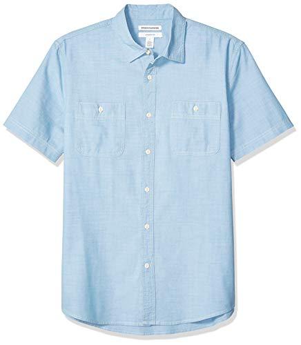 Amazon Essentials Men's Standard Slim-Fit Short-Sleeve Chambray Shirt, Light Blue, -