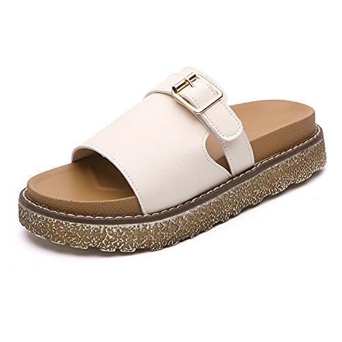 LIXIONG zapatillas Hembra verano Moda Fondo grueso Hebilla de metal Antideslizante Zapatos de playa, Altura del tacón 4.5cm, 2 colores -Zapatos de moda (Color : Blanco, Tamaño : EU38/UK5.5/CN38/240) Blanco