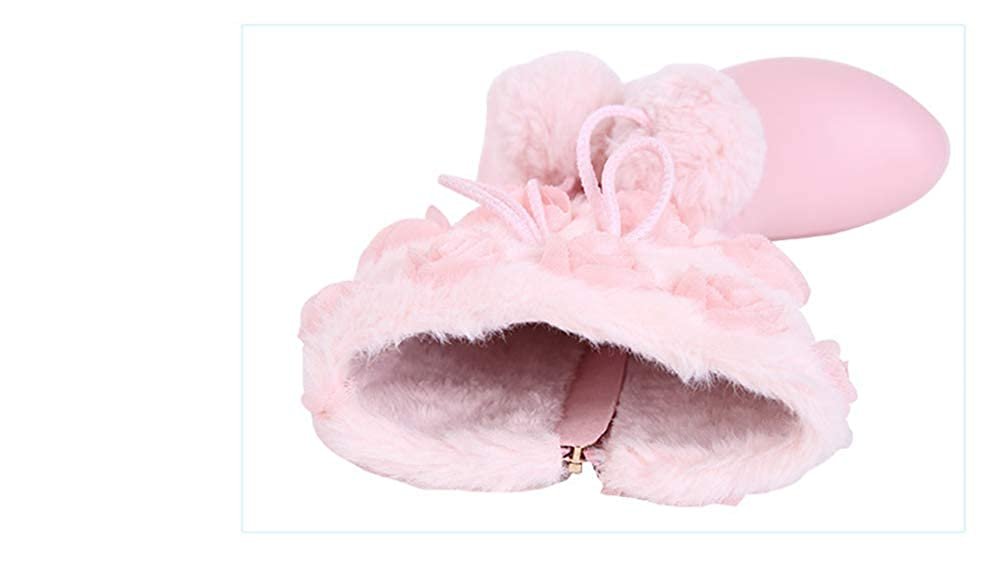 FUN.S 2018 Girls Princess High-Heeled Snow Boots Hairball /& Plush Knee-High Sequins Party Shoes