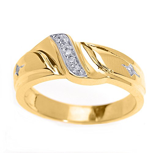 Men's 14k Yellow Gold 7-Stone Diamond Wedding Band, Size 12