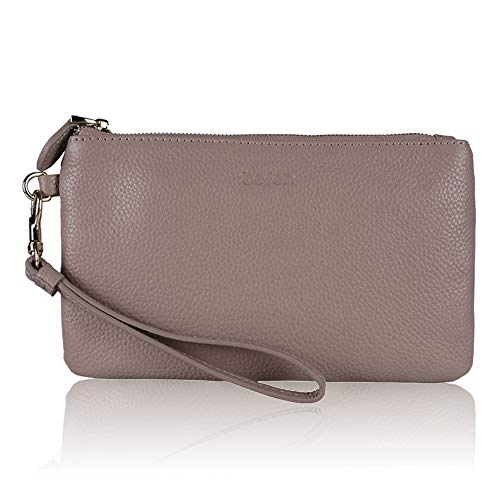 (Befen Women Genuine Leather Clutch Wallet Smartphone Wristlet Purse - Fit iPhone 8 Plus - Mauve Pink)
