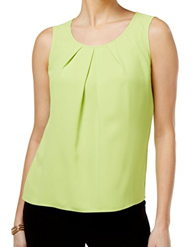 Kasper Womens Pleated Sleeveless Shell Green L
