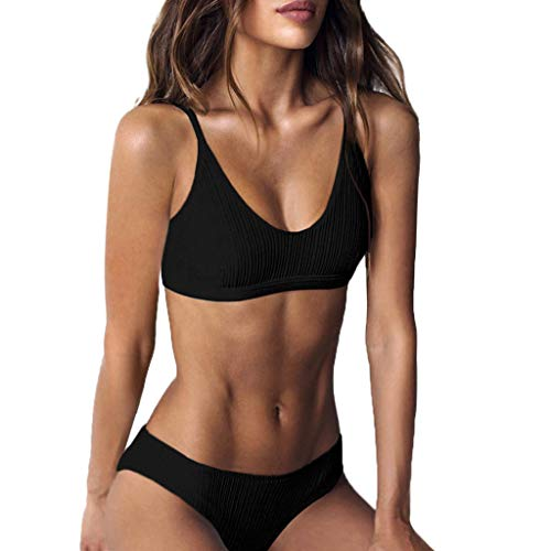 (ANJUNIE Women Fashion Push-Up Padded Bra Beach Bikini Set Swimsuit Beachwear)