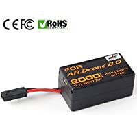 Eleoption 20C 11.1V 2000mah Upgrade Battery for Parrot Ar.drone 2.0 Power Edition Helicopter