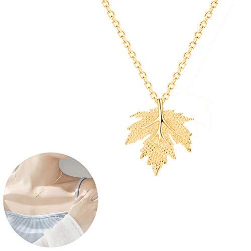 JUESJ Charm Maple Leaf Pendant Necklace for Women Girls (Gold) (Leaf Maple Pendant)