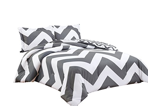 Chezmoi Collection 2-piece Chevron Zig Zag Comforter Bedding Set (Twin, Grey)