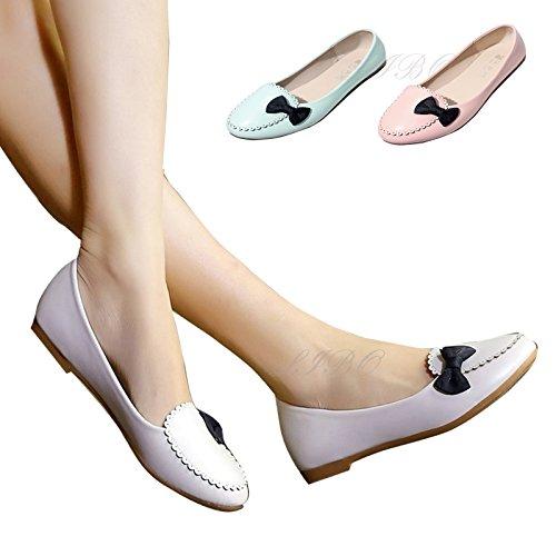 Uformell Faux Fødselspermisjon Damene Ballerina Dolly Skli Skole Lyseblå Pumper Flat Comfy På Kvinners Bowknot Sko Arbeid Skinn Ballett awOZZd