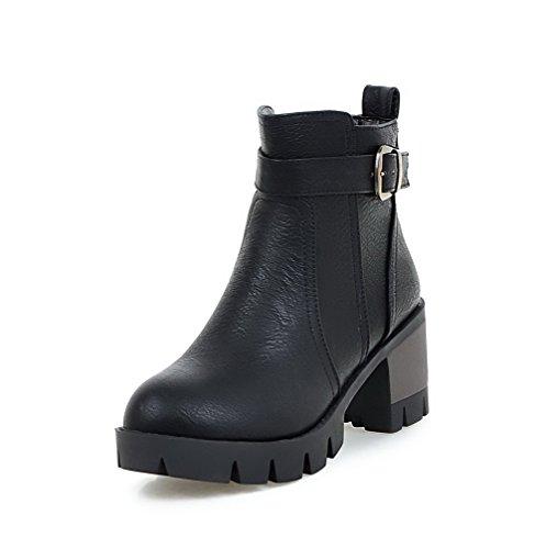 Material Zipper Low Black WeenFashion Kitten Boots Heels Round Soft Toe Women's Top Closed x4gwwAqX