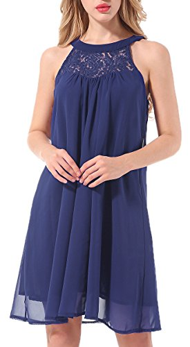 Casual Halter Sleeveless Knee Length Chiffon Shift Dresses for Juniors Women(Blue M)