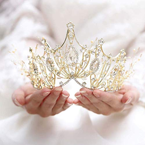 Catery Gold Baroque Crowns and Tiaras Crystal Pearl Bride Wedding Queen Crowns for Women Decorative Princess Tiaras Hair Accessories for Women and ()