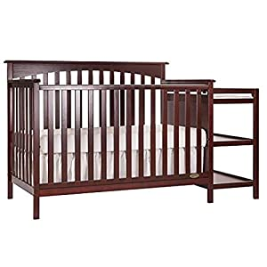 Dream On Me Chloe 5-in-1 Convertible Crib with Changer, Cherry with Two Sided Contour Changing Pad, White and Full Size Firm Foam Crib and Toddler Bed Mattress, Little Baby, 6″