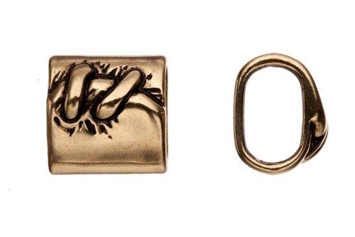 10pcs Bracelet charms, antique copper-plated, leather knot patterned circlet slider beads (Copper Antique Molds)