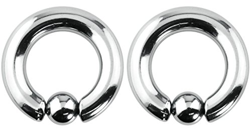 (Forbidden Body Jewelry Pair of 2g 16mm Surgical Steel Captive Bead Ring Body Piercing Hoops, 8mm Balls (2pcs))