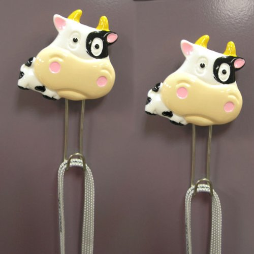 Animal Shape Wall Hook(Set of 2)- Cow Animal Shape Wall Hook