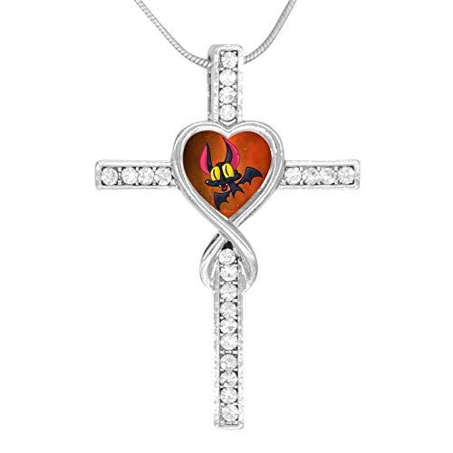 Aeeri0 Bat Halloween 3D Printed Cross Infinity Love Pendant Necklace Jewelry for Women Girls -
