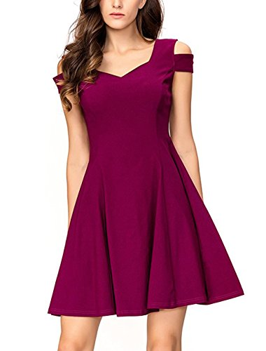 InsNova Women's Cocktail Dresses Vintage Fit and Flare Wedding Guest Party, Purple, Small (Teens For Dresses Weddings For)