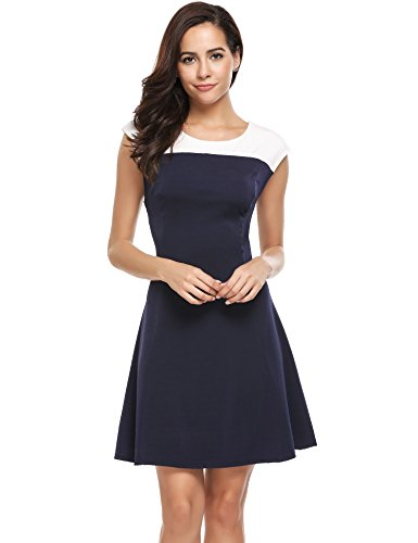 ACEVOG Womens Color Block Summer Casual Dresses Cap Sleeve A Line Pleated Cocktail Party Dress,Blue,Large (Block Summer)